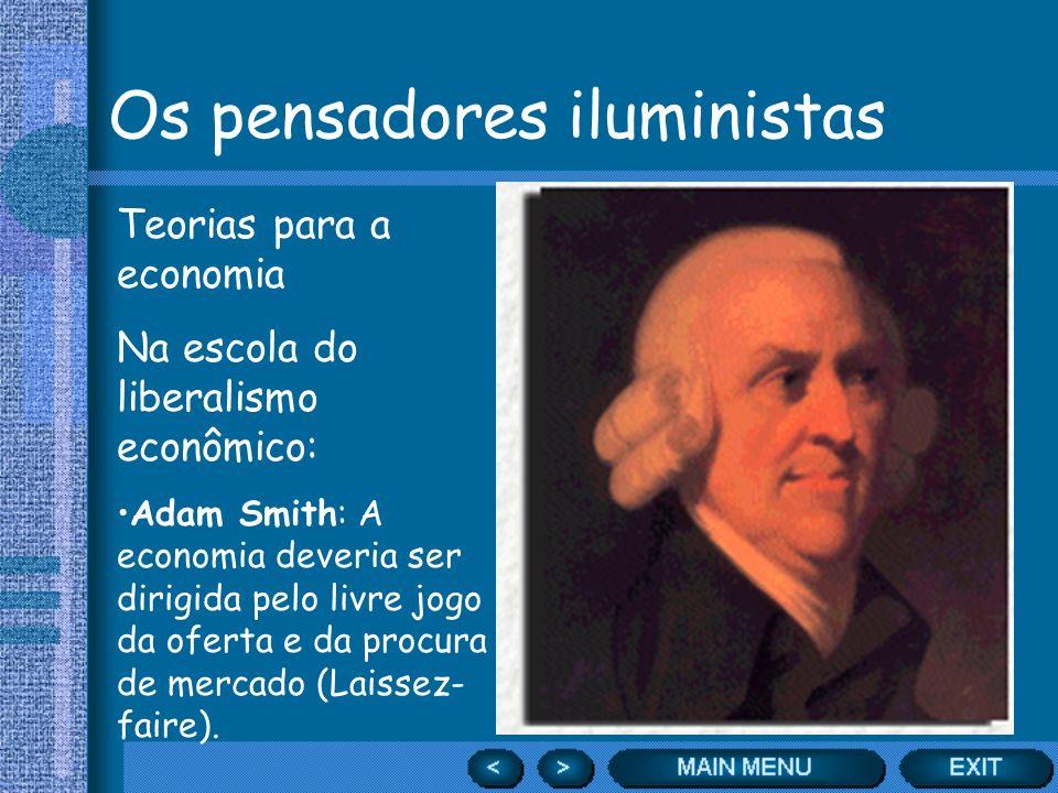 Os pensadores iluministas Teorias para a economia Na escola do liberalismo econômico: Adam Smith: A economia deveria ser dirigida pelo livre jogo da o
