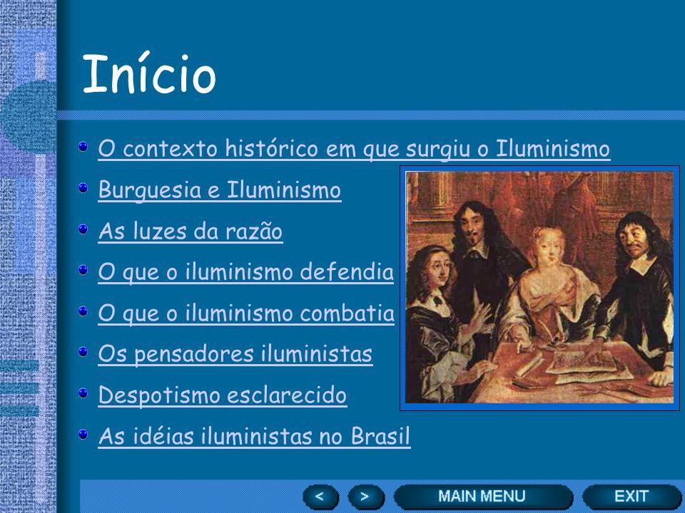 Início O contexto histórico em que surgiu o Iluminismo Burguesia e Iluminismo As luzes da razão O que o iluminismo defendia O que o iluminismo combati