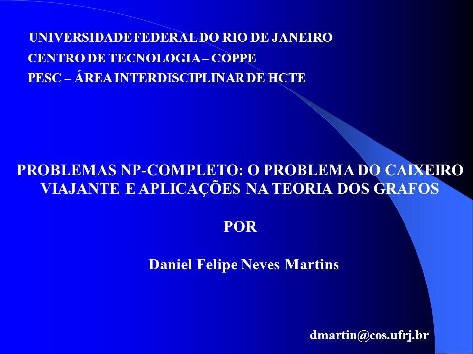UNIVERSIDADE FEDERAL DO RIO DE JANEIRO CENTRO DE TECNOLOGIA – COPPE PROBLEMAS NP-COMPLETO: O PROBLEMA DO CAIXEIRO VIAJANTE E APLICAÇÕES NA TEORIA DOS
