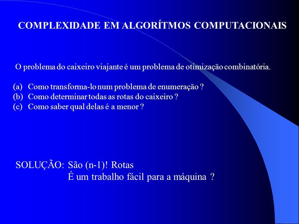 COMPLEXIDADE EM ALGORÍTMOS COMPUTACIONAIS O problema do caixeiro viajante é um problema de otimização combinatória. (a)Como transforma-lo num problema
