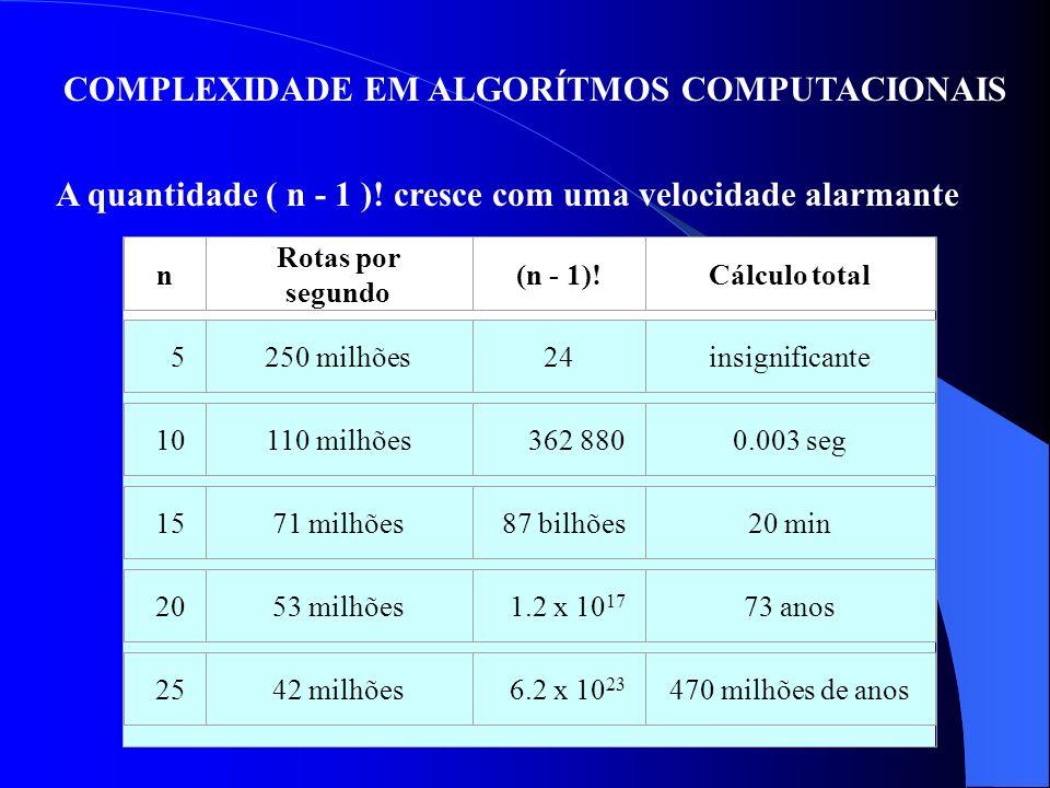 COMPLEXIDADE EM ALGORÍTMOS COMPUTACIONAIS A quantidade ( n - 1 )! cresce com uma velocidade alarmante n Rotas por segundo (n - 1)!Cálculo total 5250 m