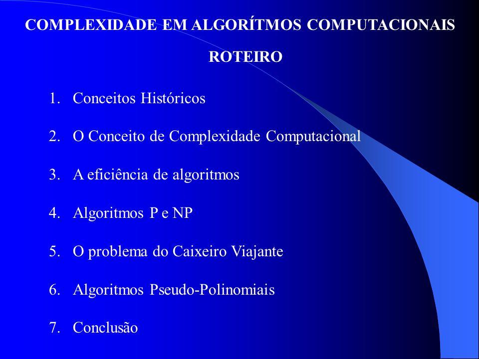 COMPLEXIDADE EM ALGORÍTMOS COMPUTACIONAIS ROTEIRO 1.Conceitos Históricos 2.O Conceito de Complexidade Computacional 3.A eficiência de algoritmos 4.Alg