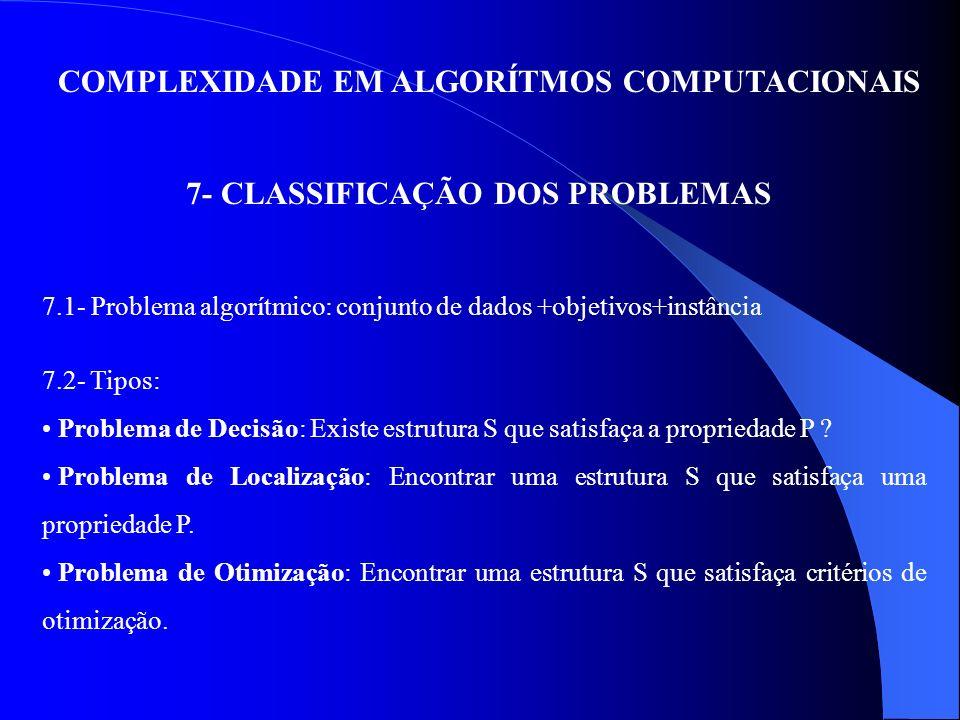 COMPLEXIDADE EM ALGORÍTMOS COMPUTACIONAIS 7- CLASSIFICAÇÃO DOS PROBLEMAS 7.1- Problema algorítmico: conjunto de dados +objetivos+instância 7.2- Tipos: