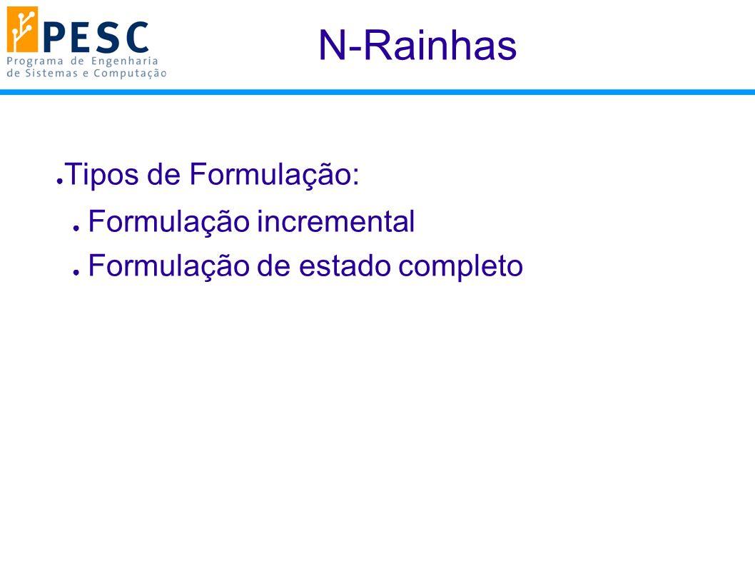 N-Rainhas Tipos de Formulação: Formulação incremental Formulação de estado completo