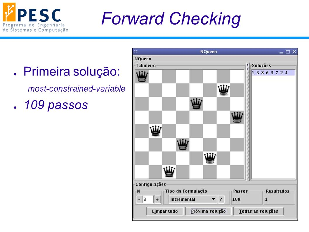 Forward Checking Primeira solução: most-constrained-variable 109 passos