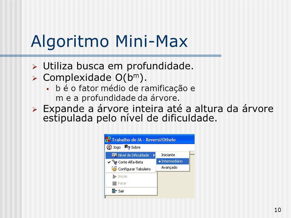 10 Algoritmo Mini-Max Utiliza busca em profundidade. Complexidade O(b m ). b é o fator médio de ramificação e m e a profundidade da árvore. Expande a