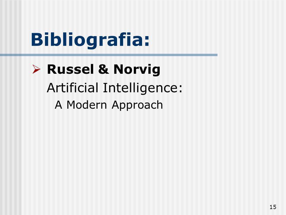 15 Bibliografia: Russel & Norvig Artificial Intelligence: A Modern Approach