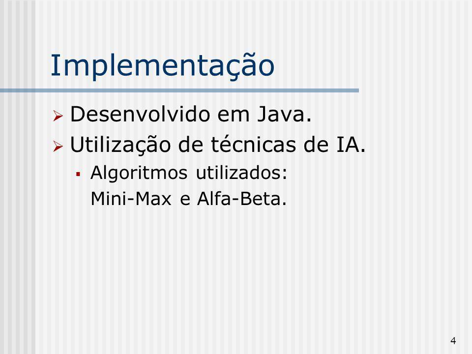4 Implementação Desenvolvido em Java. Utilização de técnicas de IA. Algoritmos utilizados: Mini-Max e Alfa-Beta.