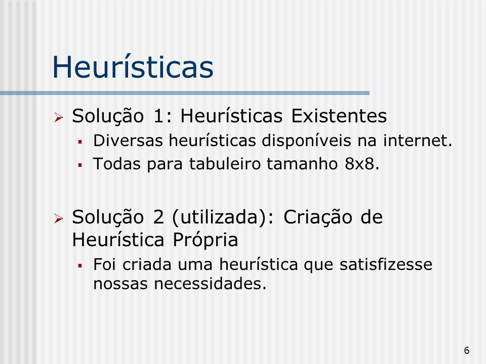 6 Heurísticas Solução 1: Heurísticas Existentes Diversas heurísticas disponíveis na internet. Todas para tabuleiro tamanho 8x8. Solução 2 (utilizada):