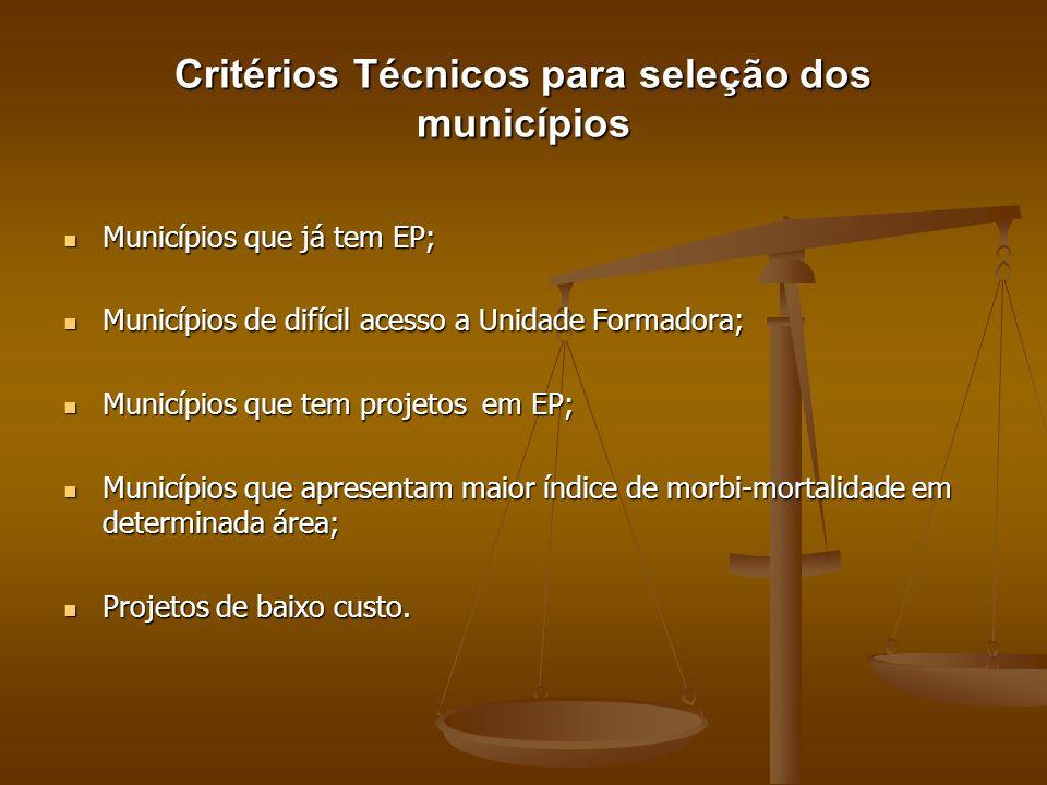 Critérios Técnicos para seleção dos municípios Municípios que já tem EP; Municípios que já tem EP; Municípios de difícil acesso a Unidade Formadora; M