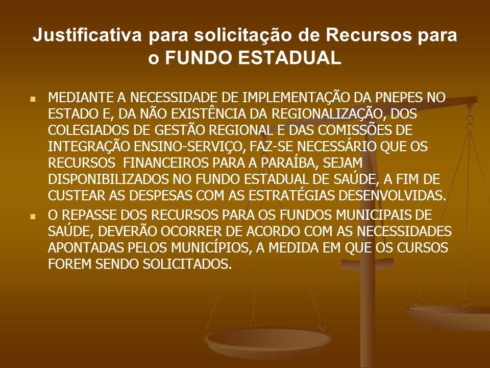 Justificativa para solicitação de Recursos para o FUNDO ESTADUAL MEDIANTE A NECESSIDADE DE IMPLEMENTAÇÃO DA PNEPES NO ESTADO E, DA NÃO EXISTÊNCIA DA R