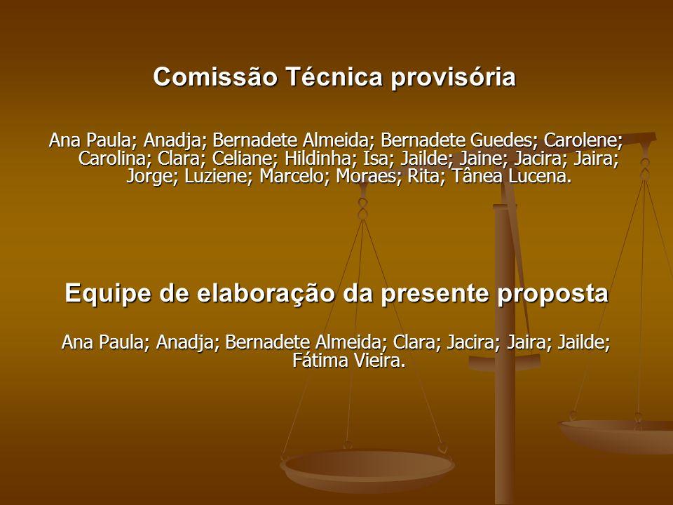 Comissão Técnica provisória Ana Paula; Anadja; Bernadete Almeida; Bernadete Guedes; Carolene; Carolina; Clara; Celiane; Hildinha; Isa; Jailde; Jaine;