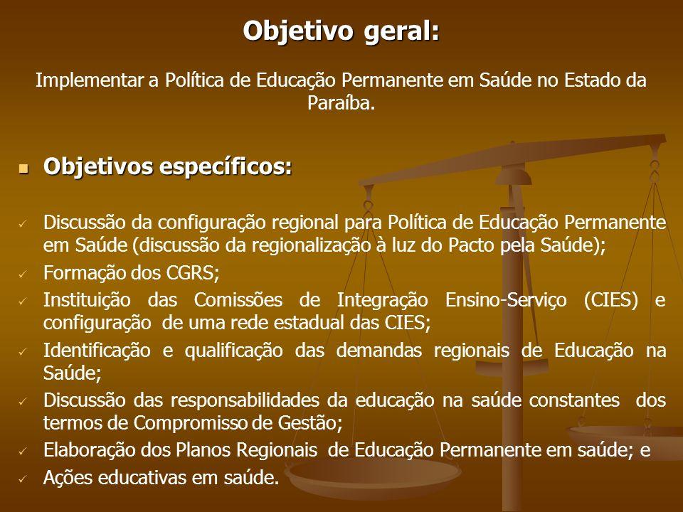 Objetivo geral: Objetivo geral: Implementar a Política de Educação Permanente em Saúde no Estado da Paraíba. Objetivos específicos: Objetivos específi