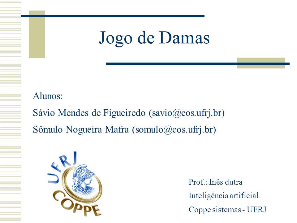 Jogo de Damas Alunos: Sávio Mendes de Figueiredo (savio@cos.ufrj.br) Sômulo Nogueira Mafra (somulo@cos.ufrj.br) Prof.: Inês dutra Inteligência artific