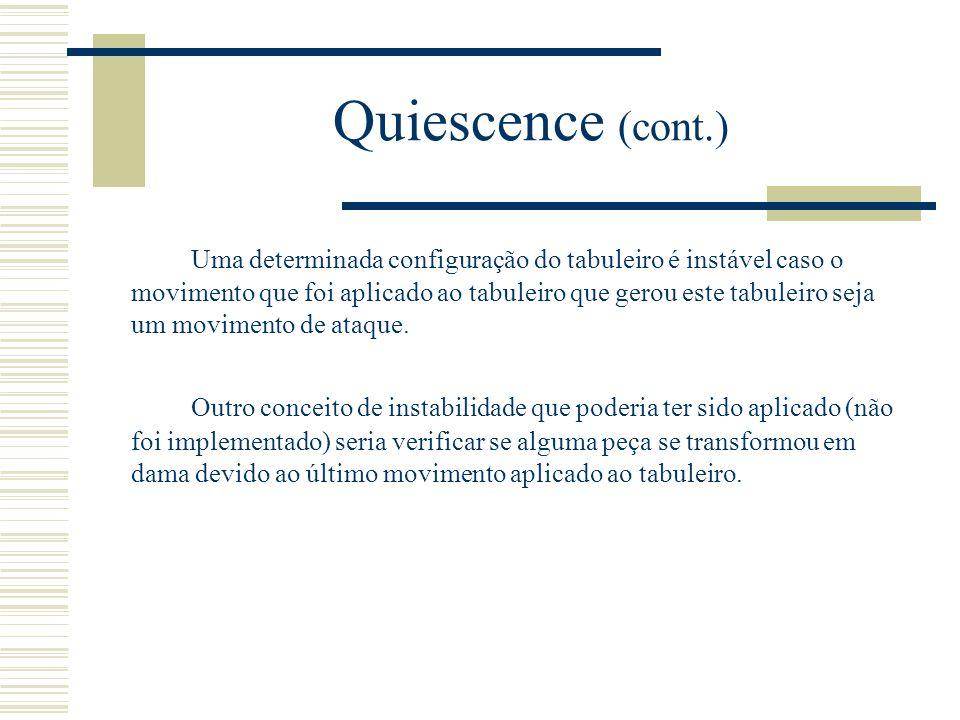 Quiescence (cont.) Uma determinada configuração do tabuleiro é instável caso o movimento que foi aplicado ao tabuleiro que gerou este tabuleiro seja u