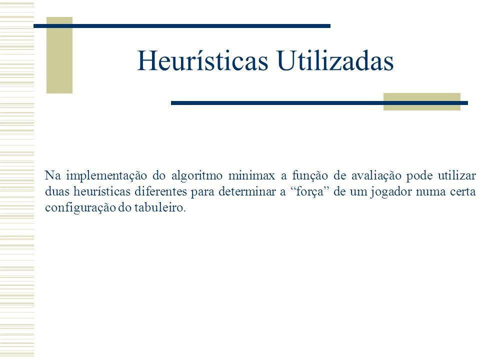 Heurísticas Utilizadas Na implementação do algoritmo minimax a função de avaliação pode utilizar duas heurísticas diferentes para determinar a força d