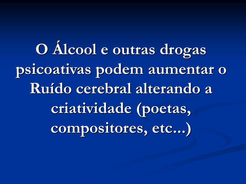 O Álcool e outras drogas psicoativas podem aumentar o Ruído cerebral alterando a criatividade (poetas, compositores, etc...)