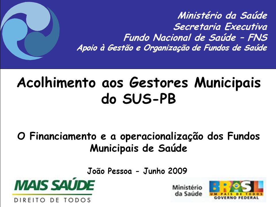 Slide 1 A P O I O A F U N D O S Ministério da Saúde Secretaria Executiva Fundo Nacional de Saúde – FNS Apoio à Gestão e Organização de Fundos de Saúde