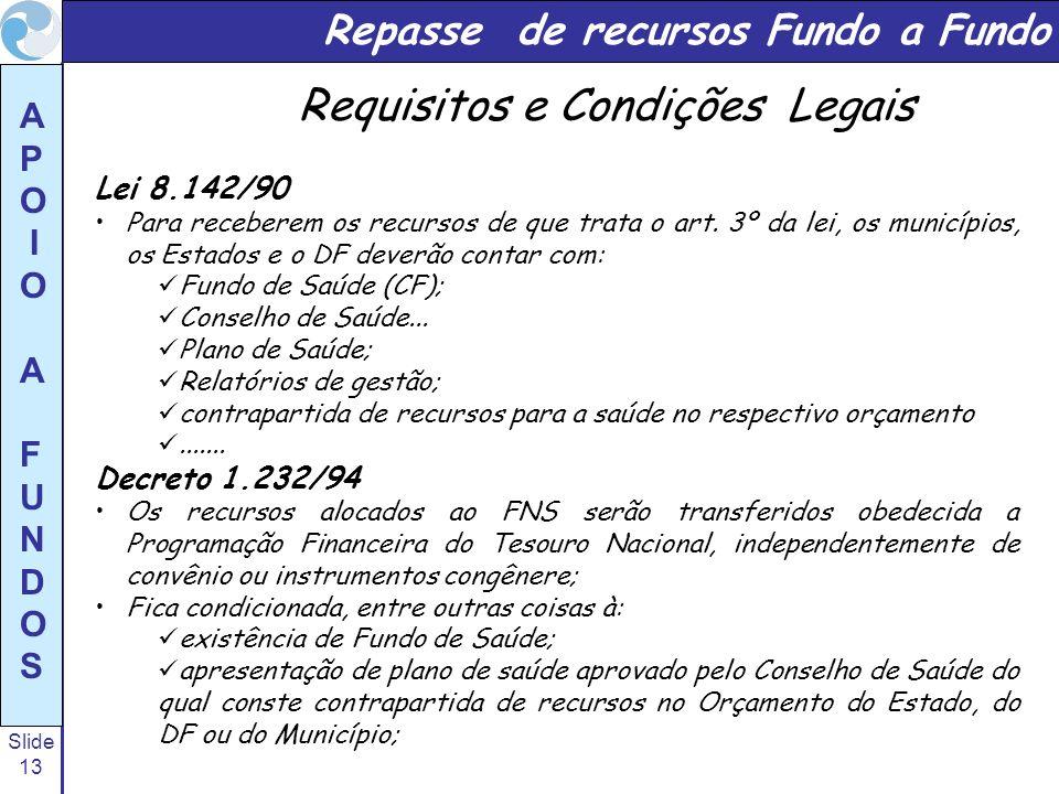 Slide 13 A P O I O A F U N D O S Repasse de recursos Fundo a Fundo Lei 8.142/90 Para receberem os recursos de que trata o art. 3º da lei, os município