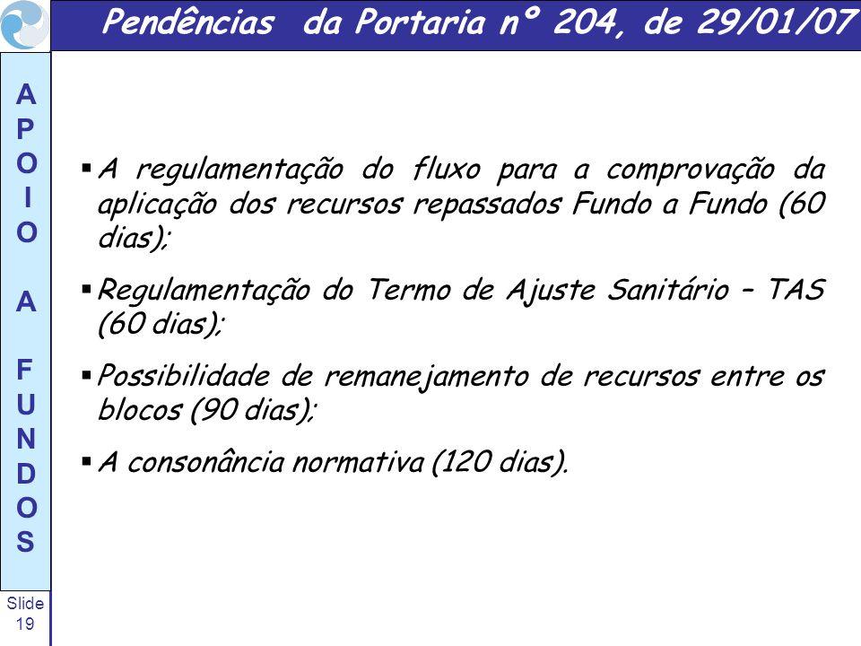 Slide 19 A P O I O A F U N D O S A regulamentação do fluxo para a comprovação da aplicação dos recursos repassados Fundo a Fundo (60 dias); Regulament