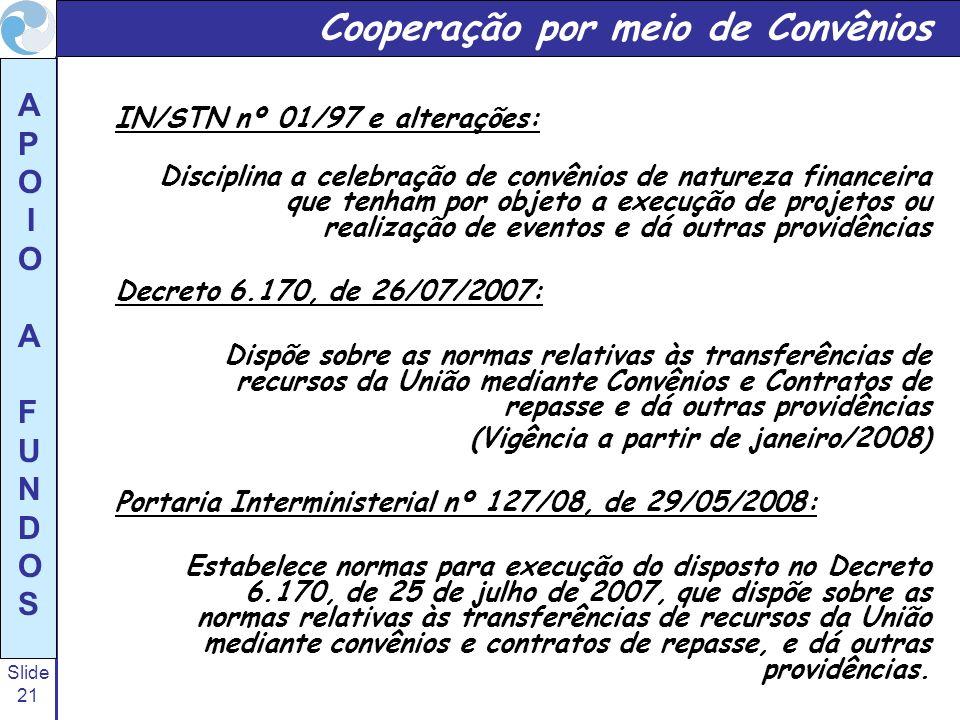 Slide 21 A P O I O A F U N D O S Cooperação por meio de Convênios IN/STN nº 01/97 e alterações: Disciplina a celebração de convênios de natureza finan