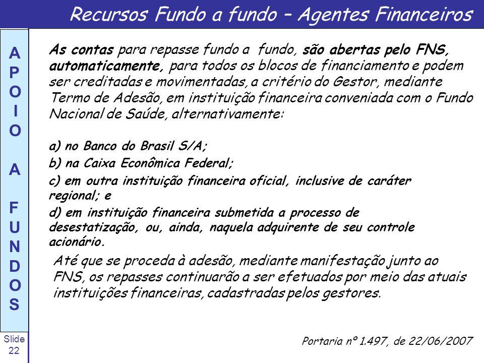 Slide 22 A P O I O A F U N D O S a) no Banco do Brasil S/A; b) na Caixa Econômica Federal; c) em outra instituição financeira oficial, inclusive de ca
