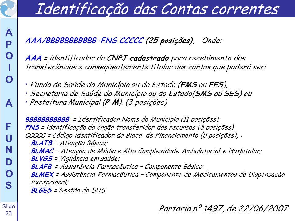 Slide 23 A P O I O A F U N D O S Portaria nº 1497, de 22/06/2007 Identificação das Contas correntes AAA/BBBBBBBBBBB-FNS CCCCC (25 posições), Onde: AAA