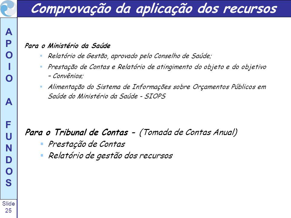 Slide 25 A P O I O A F U N D O S Para o Ministério da Saúde Relatório de Gestão, aprovado pelo Conselho de Saúde; Prestação de Contas e Relatório de a