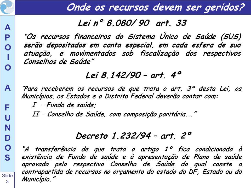 Slide 3 A P O I O A F U N D O S Lei n° 8.080/ 90 art. 33 Os recursos financeiros do Sistema Único de Saúde (SUS) serão depositados em conta especial,