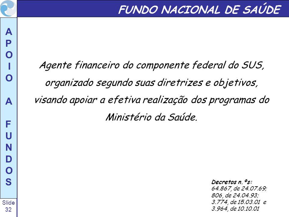 Slide 32 A P O I O A F U N D O S FUNDO NACIONAL DE SAÚDE Agente financeiro do componente federal do SUS, organizado segundo suas diretrizes e objetivo