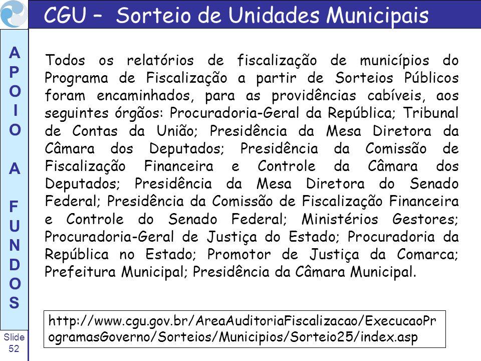 Slide 52 A P O I O A F U N D O S CGU – Sorteio de Unidades Municipais Todos os relatórios de fiscalização de municípios do Programa de Fiscalização a