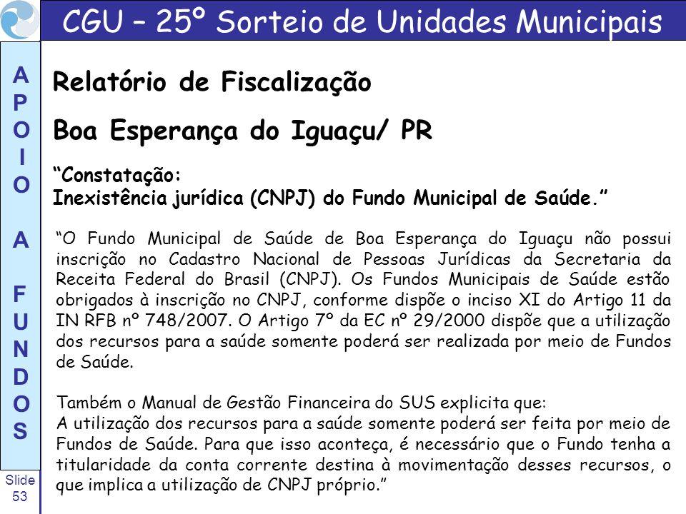 Slide 53 A P O I O A F U N D O S O Fundo Municipal de Saúde de Boa Esperança do Iguaçu não possui inscrição no Cadastro Nacional de Pessoas Jurídicas