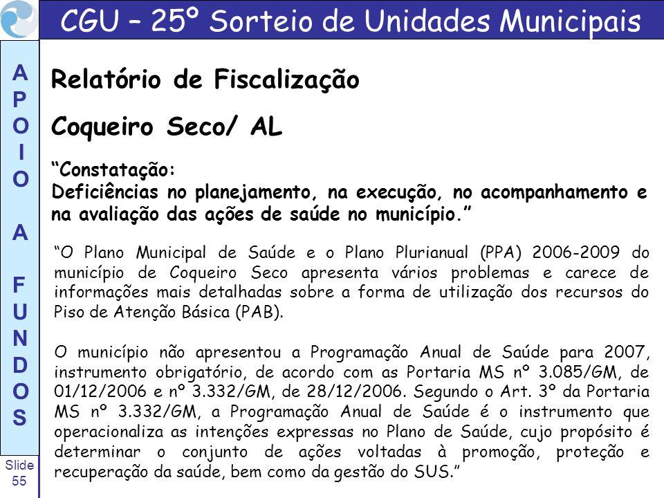 Slide 55 A P O I O A F U N D O S O Plano Municipal de Saúde e o Plano Plurianual (PPA) 2006-2009 do município de Coqueiro Seco apresenta vários proble
