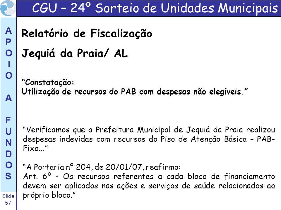 Slide 57 A P O I O A F U N D O S Verificamos que a Prefeitura Municipal de Jequiá da Praia realizou despesas indevidas com recursos do Piso de Atenção