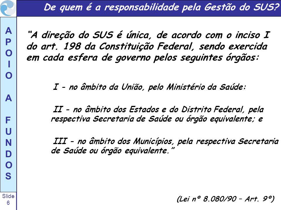 Slide 6 A P O I O A F U N D O S I - no âmbito da União, pelo Ministério da Saúde: II - no âmbito dos Estados e do Distrito Federal, pela respectiva Se