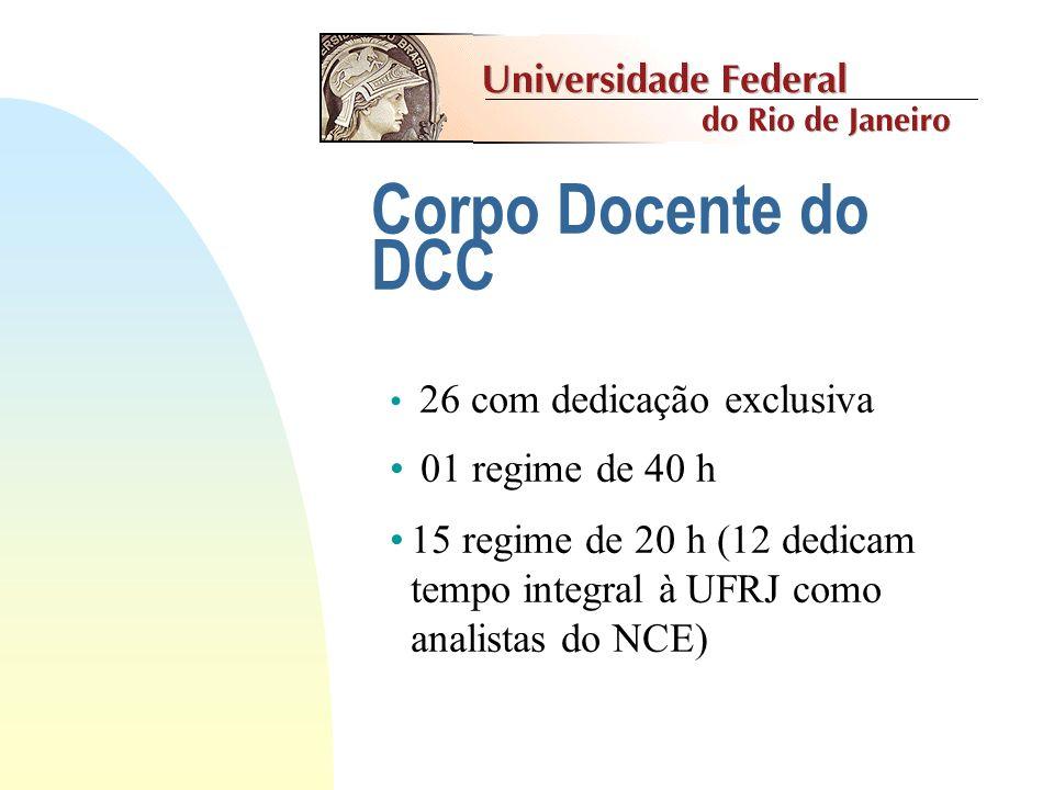 Corpo Docente do Curso No curso atuam professores do DCC e de outros Departamentos do IM e de outras Unidades da UFRJ (IF, IE). Por exemplo, disciplin