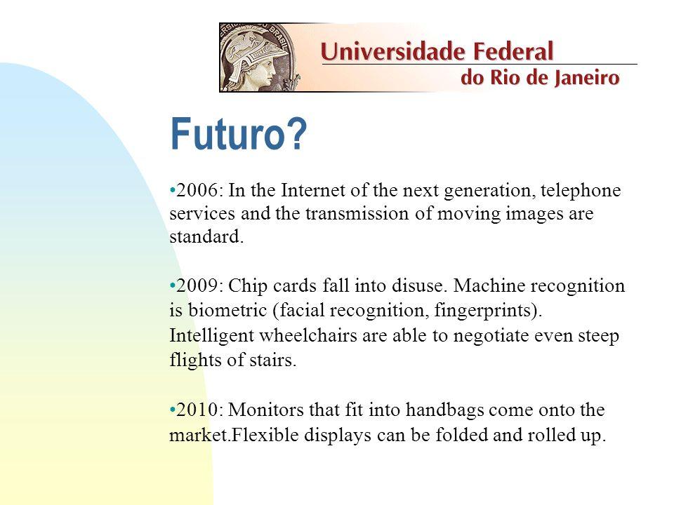 Futuro? Ninguém previu a Internet, CD-ROM, etc. Esta nova tecnologia (a televisão) não tem futuro. (The New York Times - década de 30) No mundo há mer