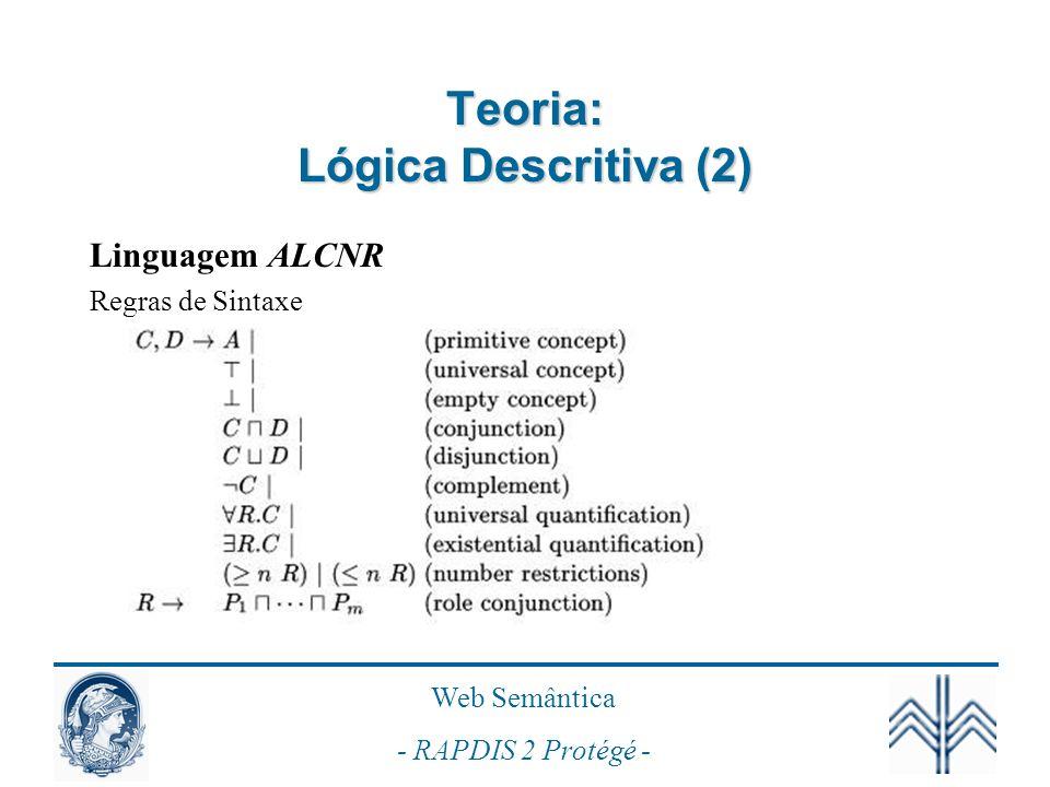Web Semântica - RAPDIS 2 Protégé - Teoria: Lógica Descritiva (3) Semântica Interpretação I -Domínio: D I -Mapeamento: -Indivíduos: a I D I -Conceitos: C I D I -Papéis: R D I x D I