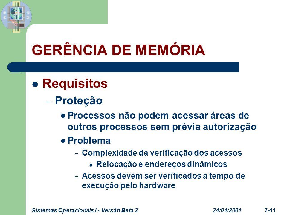 24/04/2001Sistemas Operacionais I - Versão Beta 37-12 GERÊNCIA DE MEMÓRIA Requisitos – Compartilhamento Permitir que vários processos façam acesso à mesma área de memória – Compartilhar código executável – Compartilhar área de dados Controlar acesso a áreas de memória sem comprometer a proteção do S.O.
