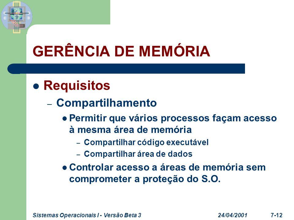 24/04/2001Sistemas Operacionais I - Versão Beta 37-13 GERÊNCIA DE MEMÓRIA Requisitos – Estrutura lógica Organização da memória em lista linear de endereços Programas são organizados em módulos Vantagens da implementação integrada – Compilação independente dos módulos – Proteção apropriada dos módulos – Compartilhamento de módulos entre os processos