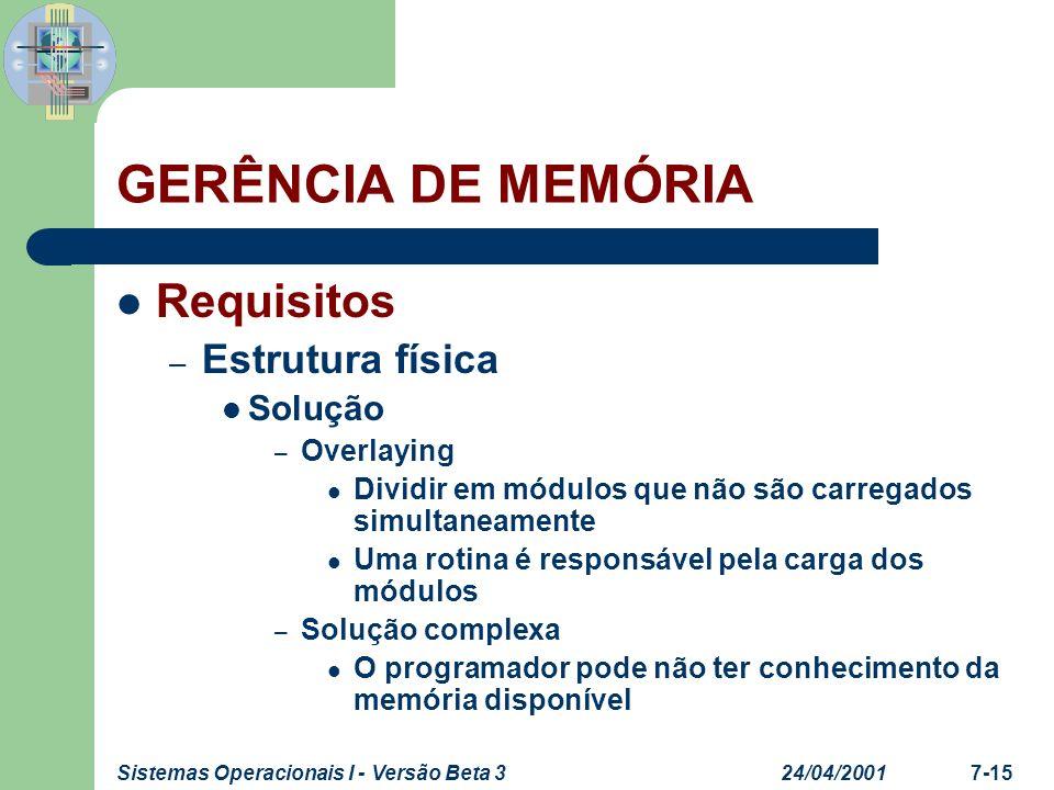 24/04/2001Sistemas Operacionais I - Versão Beta 37-15 GERÊNCIA DE MEMÓRIA Requisitos – Estrutura física Solução – Overlaying Dividir em módulos que nã