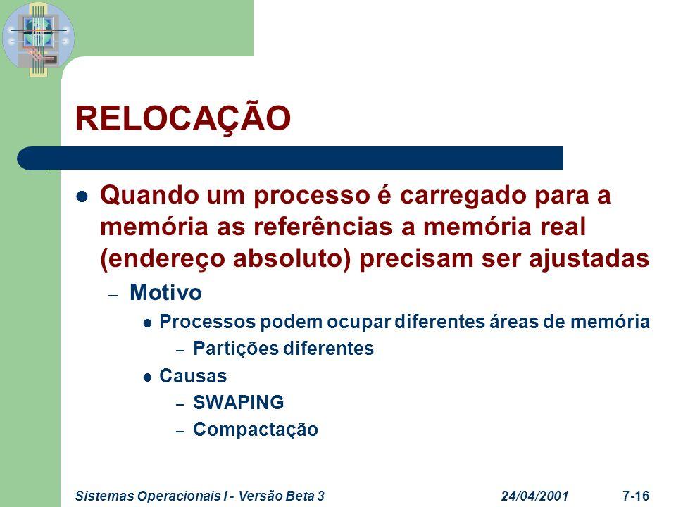 24/04/2001Sistemas Operacionais I - Versão Beta 37-16 RELOCAÇÃO Quando um processo é carregado para a memória as referências a memória real (endereço