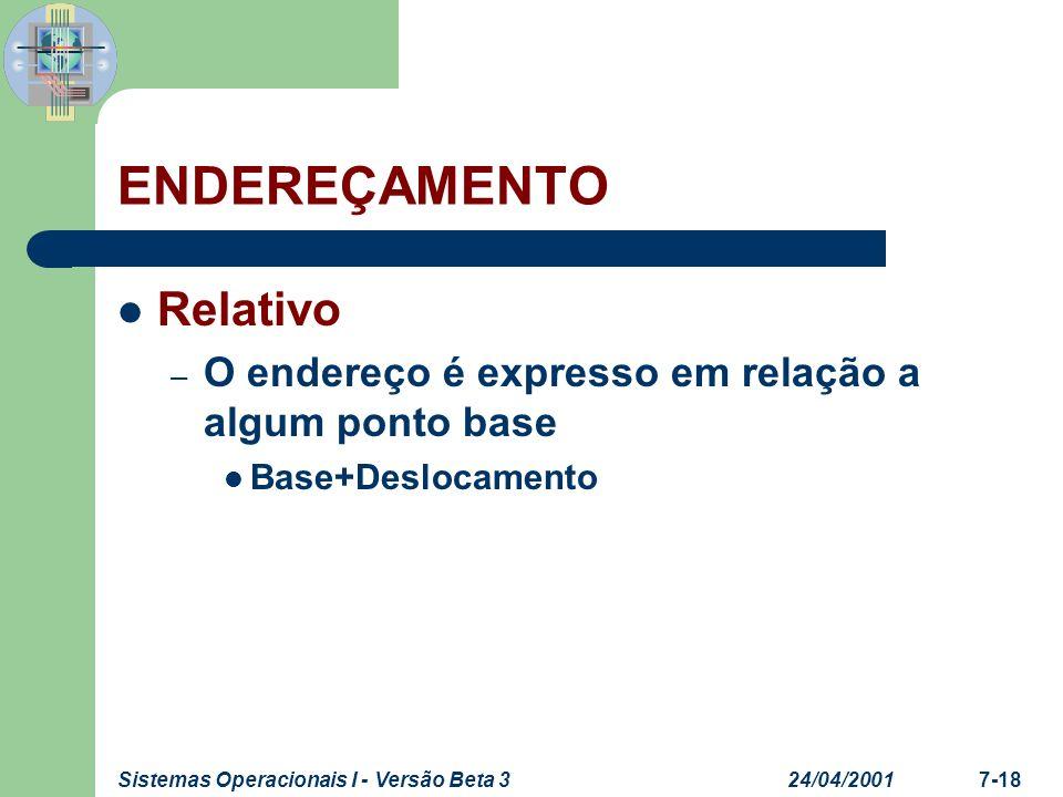 24/04/2001Sistemas Operacionais I - Versão Beta 37-18 ENDEREÇAMENTO Relativo – O endereço é expresso em relação a algum ponto base Base+Deslocamento