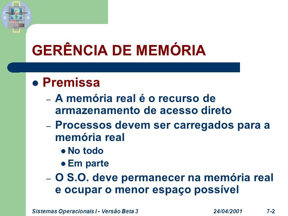 24/04/2001Sistemas Operacionais I - Versão Beta 37-2 GERÊNCIA DE MEMÓRIA Premissa – A memória real é o recurso de armazenamento de acesso direto – Pro