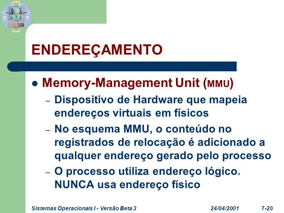 24/04/2001Sistemas Operacionais I - Versão Beta 37-20 ENDEREÇAMENTO Memory-Management Unit ( MMU ) – Dispositivo de Hardware que mapeia endereços virt