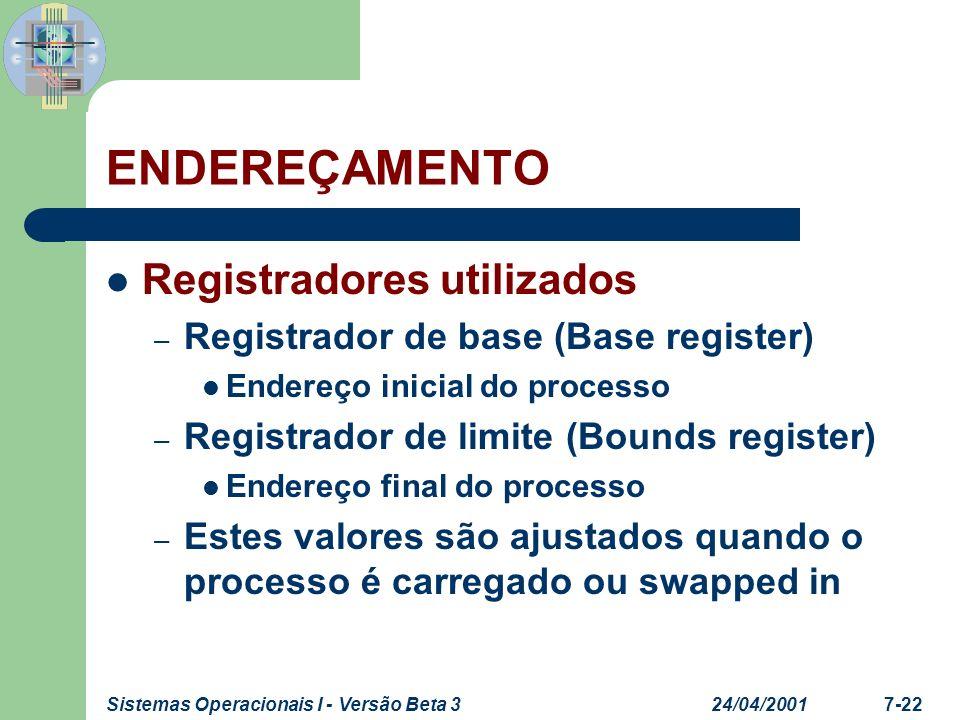 24/04/2001Sistemas Operacionais I - Versão Beta 37-23 ENDEREÇAMENTO Registradores utilizados – O valor no registrador de base é somado a um endereço relativo para produzir um endereço absoluto O resultado é comparado com o registrador de limite Se não estiver contido no limite permitido, uma interrupção é gerada