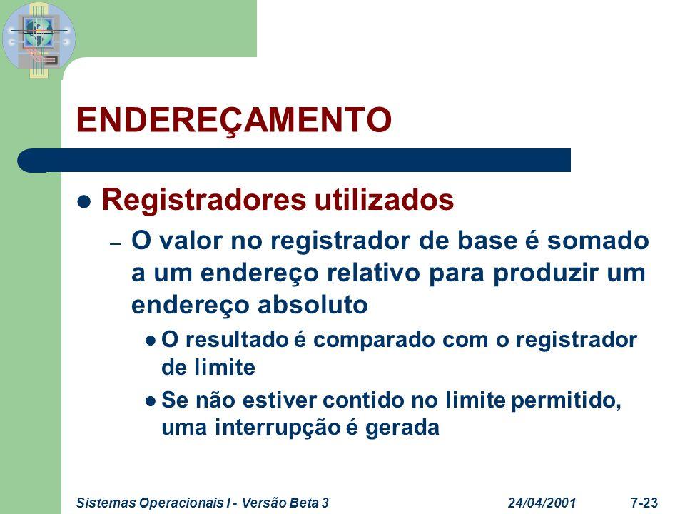 24/04/2001Sistemas Operacionais I - Versão Beta 37-23 ENDEREÇAMENTO Registradores utilizados – O valor no registrador de base é somado a um endereço r