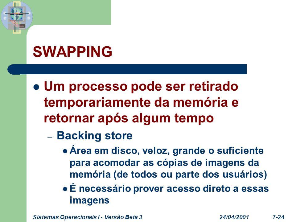 24/04/2001Sistemas Operacionais I - Versão Beta 37-25 SWAPPING – Roll out, roll in Variante da técnica swapping utilizada por algoritmos de escalonamento priority-based Processos com baixa prioridade são swapped-out para dar lugar a processos com alta prioridade O tempo dispensado – É gasto com a transferência de dados – É proporcional a quantidade de memória a ser swapped.