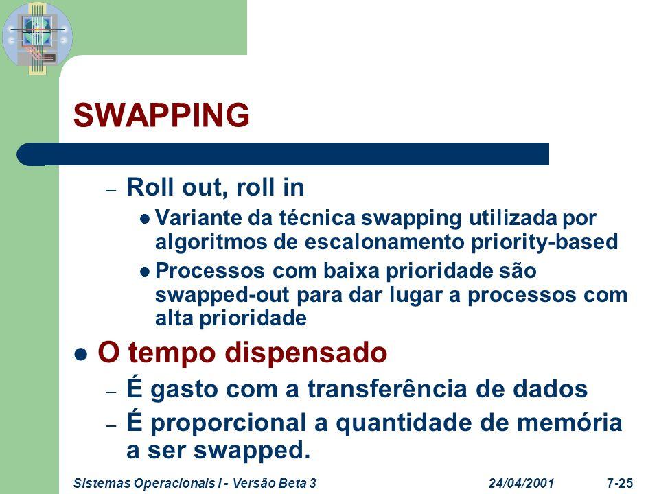 24/04/2001Sistemas Operacionais I - Versão Beta 37-25 SWAPPING – Roll out, roll in Variante da técnica swapping utilizada por algoritmos de escaloname