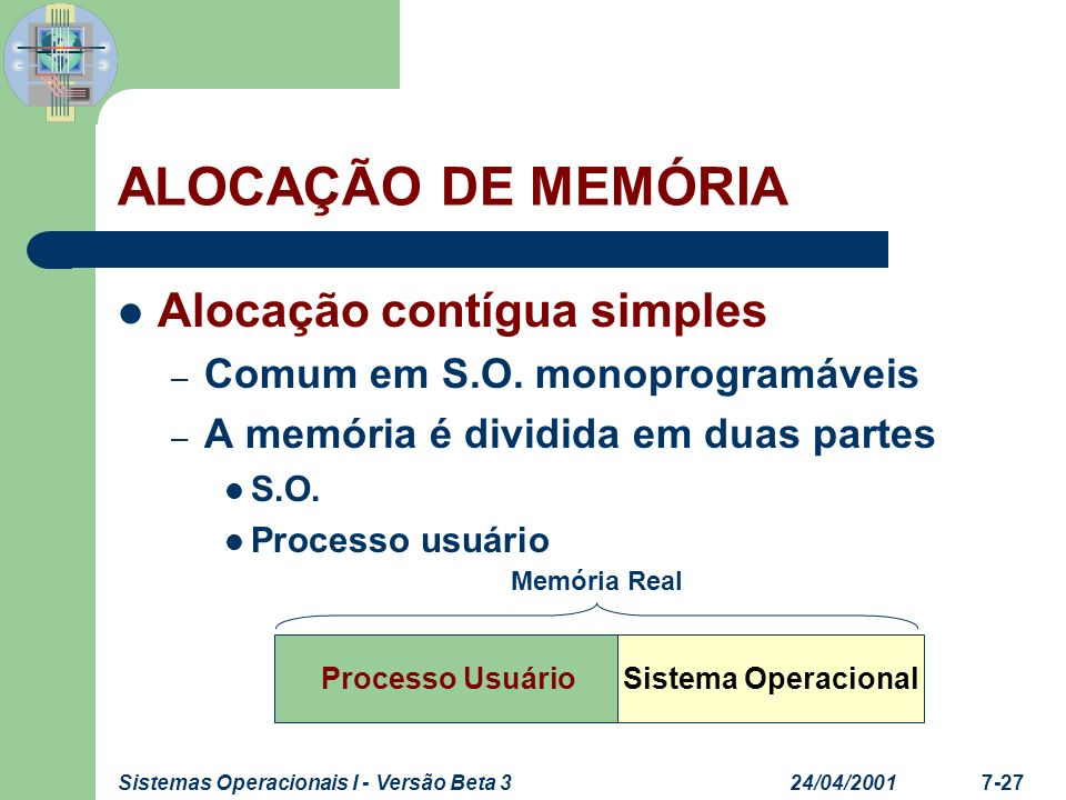 24/04/2001Sistemas Operacionais I - Versão Beta 37-27 ALOCAÇÃO DE MEMÓRIA Alocação contígua simples – Comum em S.O. monoprogramáveis – A memória é div
